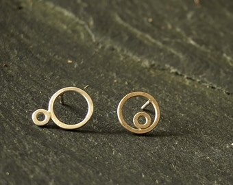 Asymmetric Silver earrings _ two silver circles _ FLOWRING