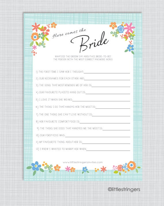 Instant Download Printable Illustrated Bridal Shower Game