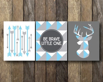 Printable Nursery Art - Instant Download - Blue and Gray Nursery - Be Brave Little One - Geometric Nursery Art - Sky Blue Nursery Prints
