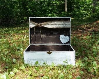 Large Rustic Wedding Card Box, Personalized Box, Wedding Keepsake Box, Shabby Chic Box, Baby Shower Decor, Rustic Wedding Decor
