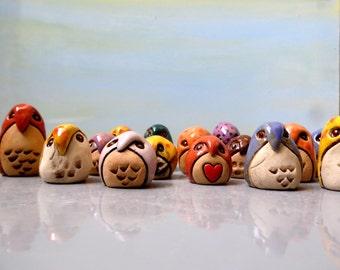 Set of two, Dolls & Miniatures Miniature owls, Home decor, Owl figurines, miniature ceramic owls, Mini owl, Barn owl , Owl totem, Baby owl