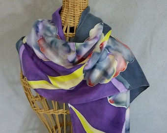 "Hand Painted Silk Scarf ""Purple Lightning"""