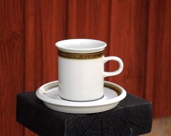 Vintage ARABIA Coffee Cup & Saucer Set, Set of TWO, Finnish Mid Century, Scandinavian Design, Retro 1970s, Brown Decor, Rustic Tableware
