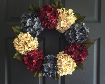 Red White Blue Wreath | Patriotic Wreath | 4th of July Wreath | Hydrangea Wreath | Front Door Wreaths | Summer Wreath | Fourth of July Decor