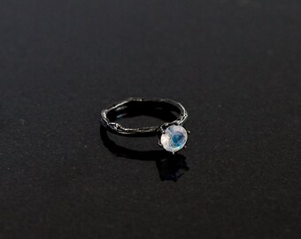 Moonstone sterling silver twig ring, branch engagement ring, alternative engagement ring, gemstone twig ring
