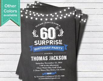 Surprise 60th birthday invitation. Man, woman. Retro chalkboard blue. Adult 16th 21st 60th 70th 80th 90th birthday printable invite AB102
