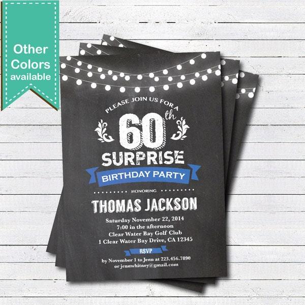 Überraschen sie 60. geburtstag einladung. mann frau. blau, Einladungsentwurf