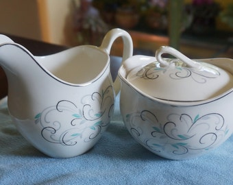 Ceramic Cream and Sugar Set; Johnson Brothers; Made in England; Approx; 3 x4 and 4 x 4 Inches