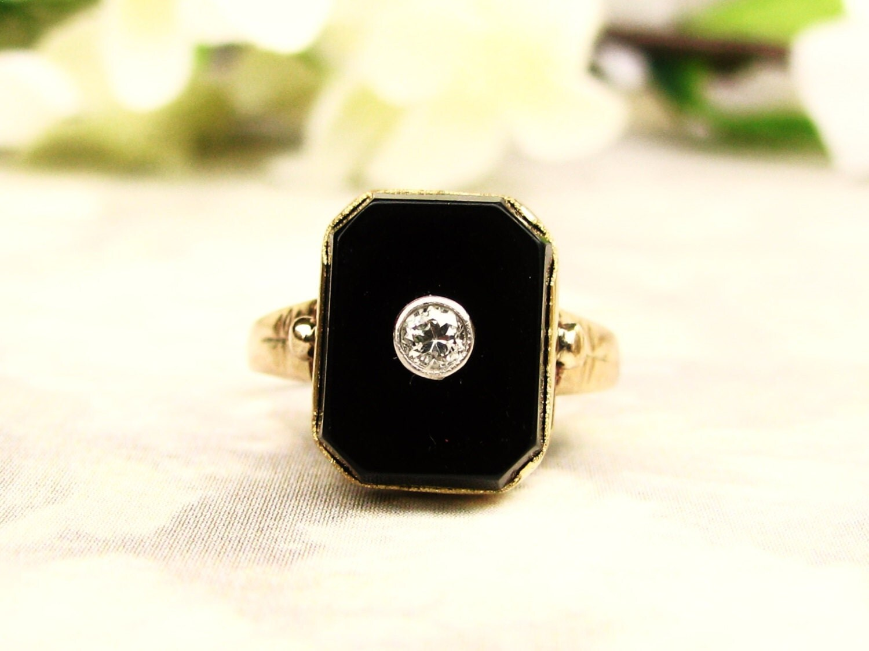 deco onyx ring antique deco engagement ring