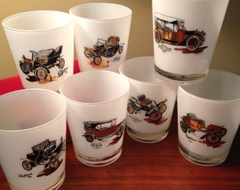 """SALE! Seven amazing """"Old Timers"""" automobile glasses by Gay Fad from the 50s"""