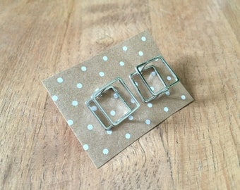 3D Square Studs in Silver Plating