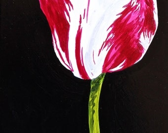 "Red Streaked Tulip Original Botanical Painting Acrylic on Canvas 4""x6"""