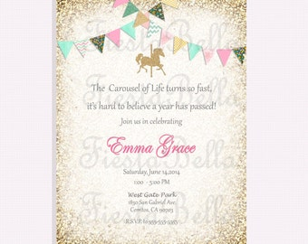Carousel birthday invitation, red, mint, green, pink, gold, blue, gold, bunting. Vintage carousel. Baby shower, bridal shower invitation