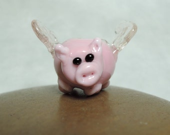 1 Cute pink flying piggy glass lampwork bead...when pigs fly