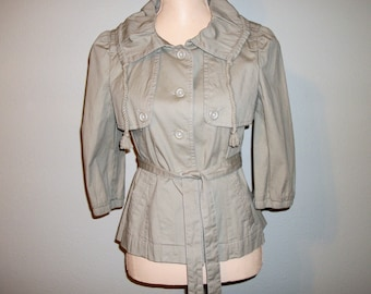 Womens Overcoat Short Overcoat Beige Jacket Casual Womens Jackets Belted Light Jacket 3/4 Sleeve Ann Taylor Small Jacket XS Womens Clothing