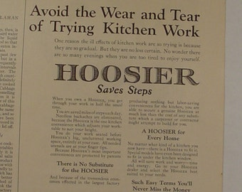 1923 Hoosier Cabinet Avoid the Wear and Tear of Kitchen Work Ad Kitchen Art