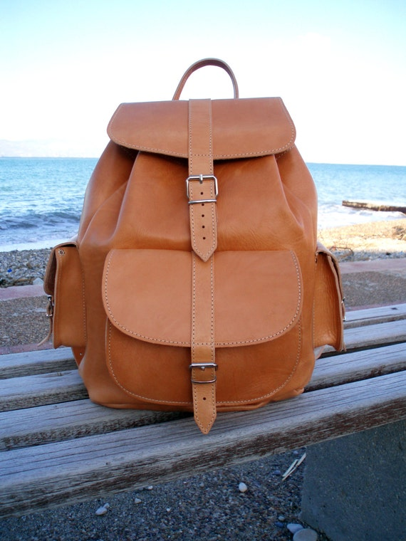 Extra Large Leather Backpack Handmade shoulder bag Womens