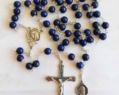 Rosary - Blue Gold Stone Saint Mary Magdalene Rosary - Sterling Silver