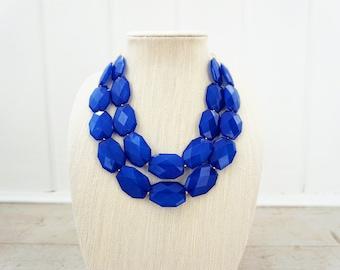 Sapphire Blue Faceted Gem Statement Necklace
