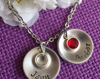 Mom Necklace - Mother's Day Gift - Mother's Necklace - Name - Birthstone - Cupped Disc - Name Necklace - Grandmother - Mom