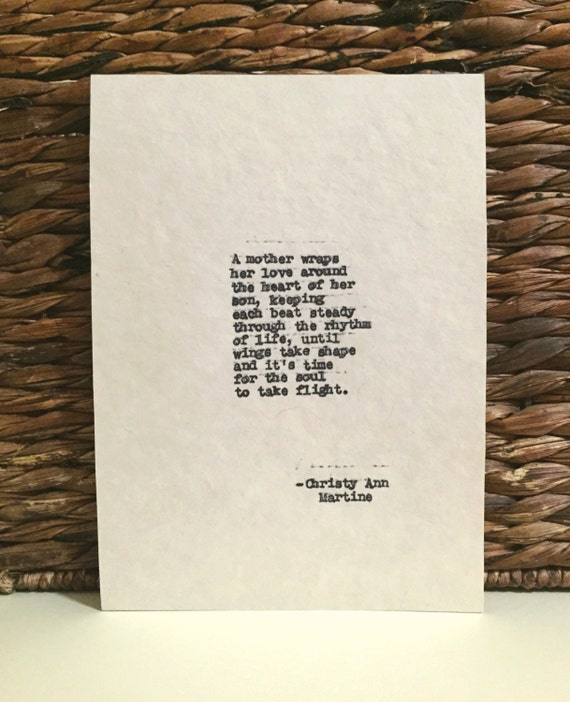 Mom From Son - Mother Son Poem - A Mothers Love - Gifts for Mom -  Hand Typed by Poet