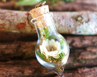 Living Plant Inspired Glass Terrarium Jewelry, Daisy Necklace, Bohemian Necklace, Real Flower Necklace, Dried Flower Jewelry, Plant Necklace