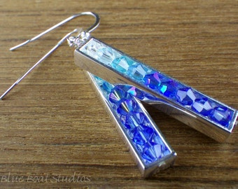 Blue ombre Swarovski® crystal and sterling silver earrings; crystal earrings; blue ombre earrings; blue crystal earrings