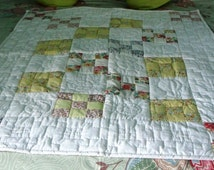 Lap Quilt, Totally Hand Sewn, Baby Cot Cover, Quilted Throw, Unique Quilt, Custom Throw, Sofa Quilt, Quilted Bed Throw, Childs Bed Quilt,