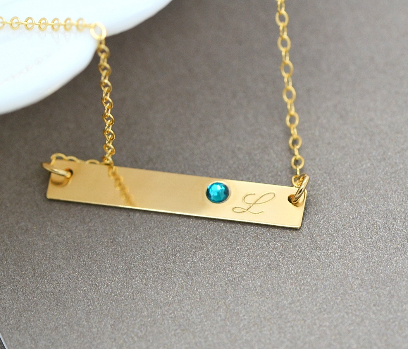 Birthstone Necklace Personalized Bar Necklace Sterling