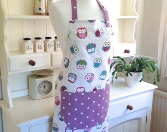 Purple Owls Apron, Adjustable Apron, Ladies Full Length Apron, Owls Apron