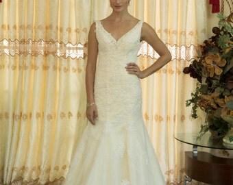 V Neck  Crystal Beaded A Line Champagne Lace Wedding Dresses, Deep V back Bridal Gown, Off Shoulder V Neck line Wedding dress
