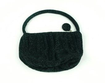 Vintage Beaded Black Purse Bead Beads Handbag Bag Handbag Small With Strap Handle Elegant Dinner
