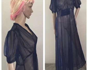 1930s NAVY blue sheer silk dress ** size xs small ** vintage thirties gown