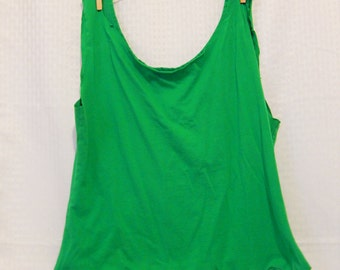 Green Upcycled Tshirt Tote - Reusable Market Bag - Recycled Grocery Bag - Beach Tote