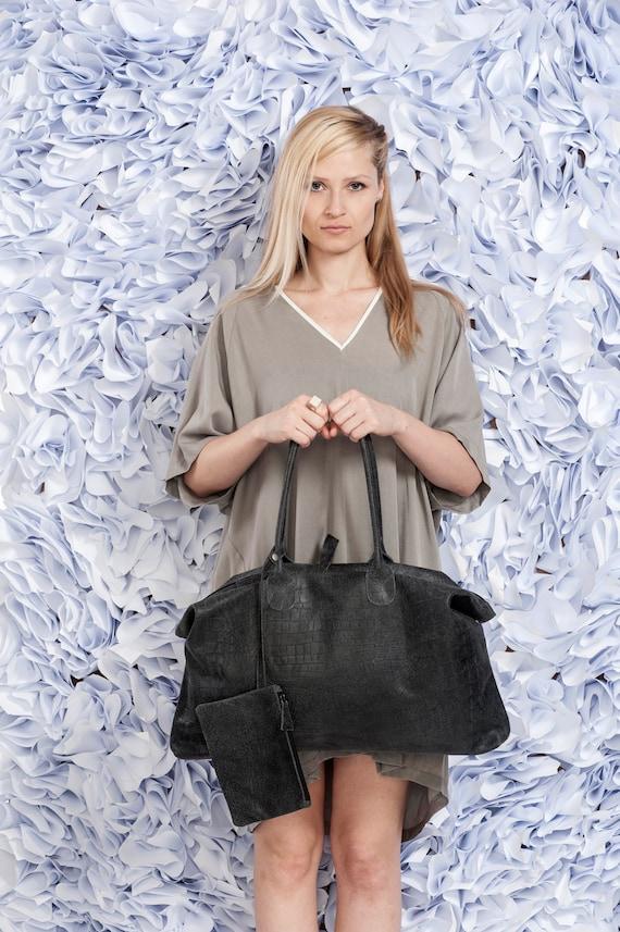 Ash Black Leather Tote Bag / Croco Shoulder Bag / Oversize Bag / Handbag / Everyday Bag / Weekend Bag / Lined Bag / Women Purse - York