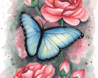 Floral Butterfly Watercolor Painting - Fine Art Print by Emily Luella