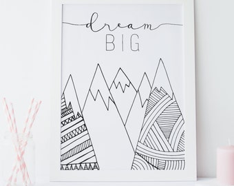 Dream Big Little One Nursery Wall Art Print Kids Room Baby Room New Baby gifts newborn baby shower