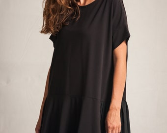 Black oversized dress / Woman's short  pleated dress / Shapeless black woman's tunic / Summer pleated oversized dress / Fasada 1551
