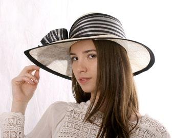 Cream wide brim hat, Asymmetric wide-brim hat, Kentucky derby hat, Wedding hat, Tea Party hat, Ascot hat, 20's style hat