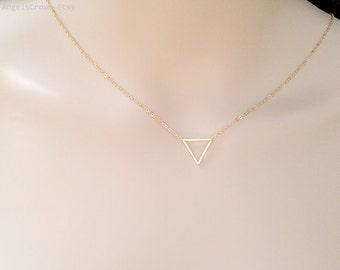 Triangle necklace minimalist geometric jewelry gold triangle necklace dainty jewelry simple necklace silver triangle necklace