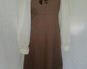 Vintage maxi prairie dress Marion Donaldson Vintage 1970's Dress with lace trimming  Size Small UK 6 8