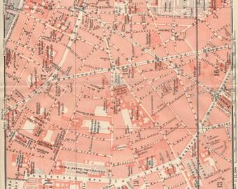 1913 Antique Paris France Street Map