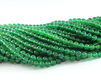 Wholesale Green Onyx AAA 4,6,8,10 mm. Wonderful Pure Green Smooth Round Beads, Natural Stone Bead, Beads for Handmade Jewelry.