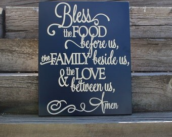 Bless The Food Before Us Sign Dining Room Wall Decor Signs