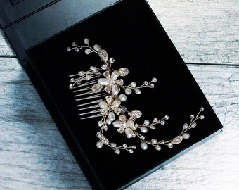 Champagne Finish Hair Comb, Crystal Bridal Hair Comb, Wedding Hair Comb, Bridal Headpiece, Floral Spray Hair Comb, Pearl Hair Comb