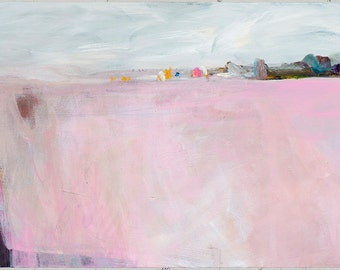 "Original PAINTING. Modern ABSTRACT ACRYLIC painting. Pink and white colours. ""Lake of Imaginations"" by Inese Andzejevska"