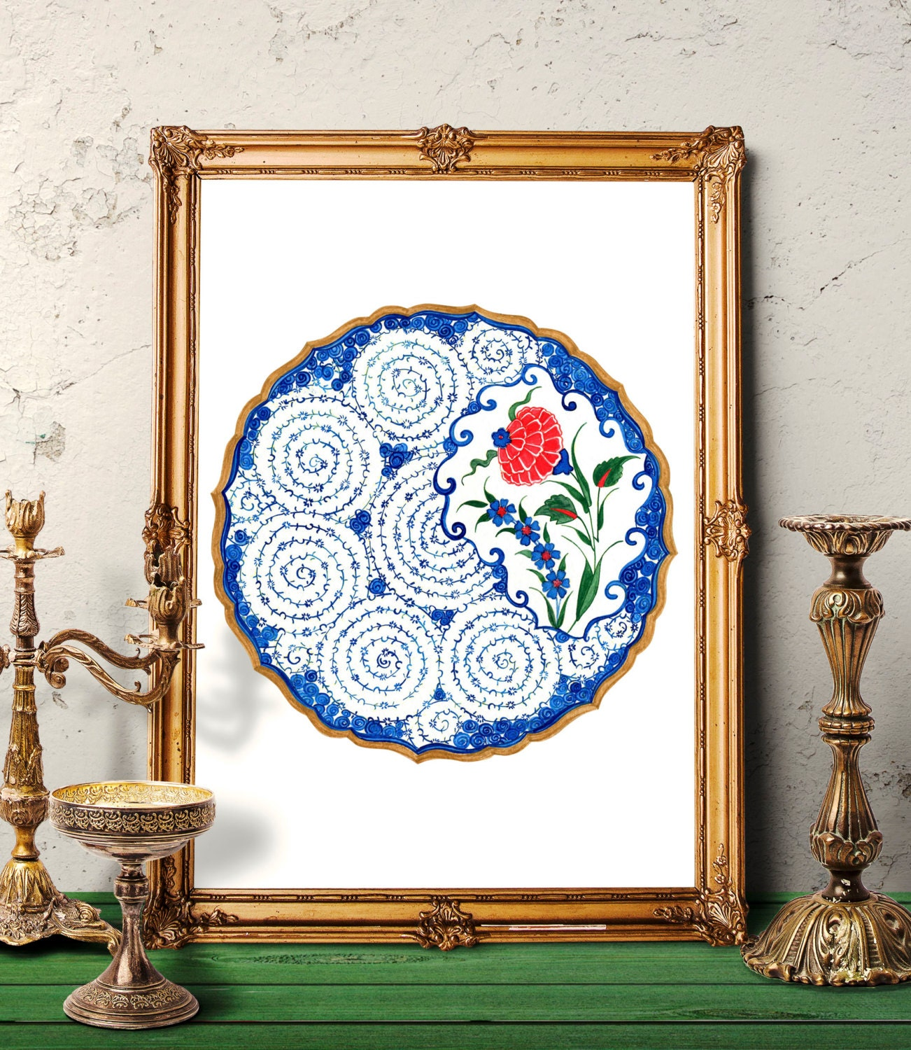 Traditional Turkish Ottoman Red Flower Home Decor Mosaic: Ottoman Red Carnation Watercolor Painting Turkish Floral Wall