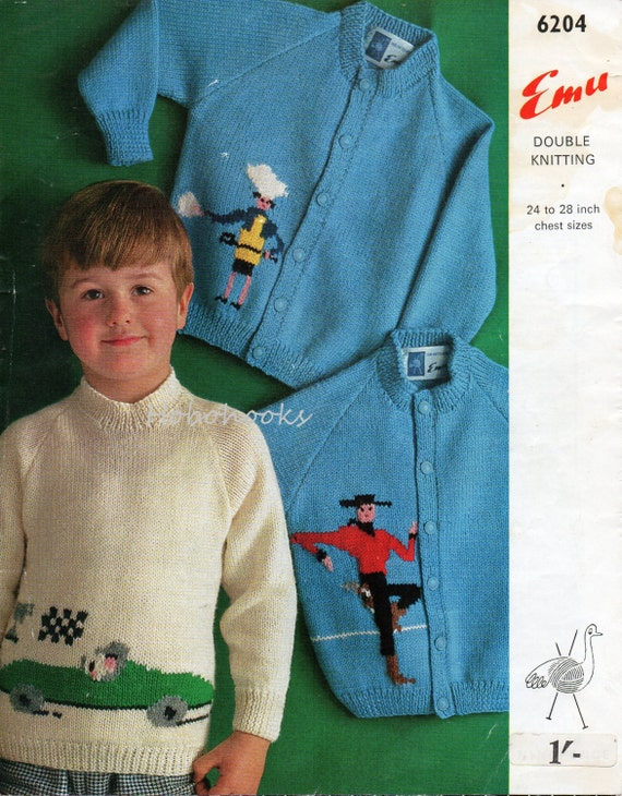 Knitting Patterns Childrens Jumpers : Items similar to Childrens knitting pattern childrens sweaters childrens card...