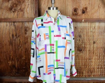 Vintage 80's Esprit Sport Geometric Button Up Blouse Sz. Small