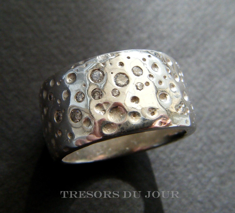 Unique Mens Ring Silver Diamonds Mens WEDDING BAND Handmade